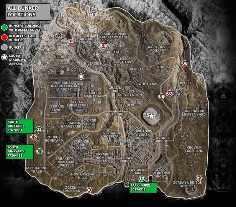localizaciones de bunkers